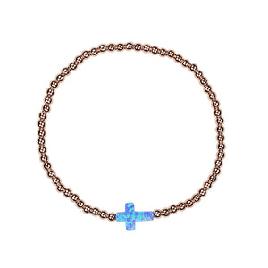 opalite side cross rose gold beaded bracelet