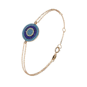 large evil eye double chain bracelet