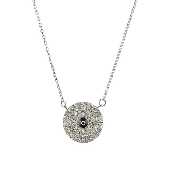 Evil eye necklace surrounded by Swarovski crystals