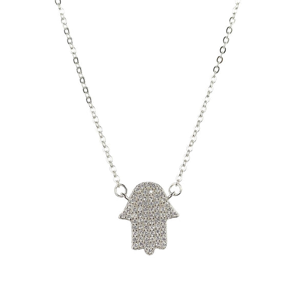 hamsa hand sterling silver necklace