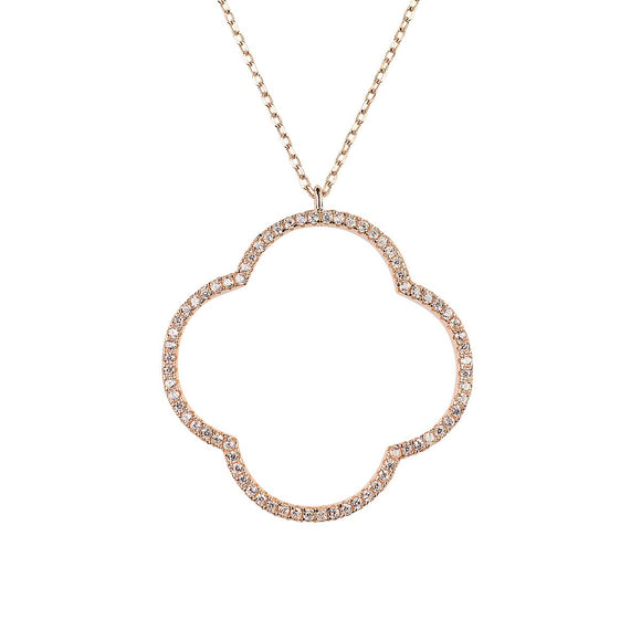 Large clover encrusted with crystals rose gold necklace