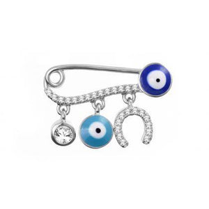 Evil eye baby pin with horseshoe charm