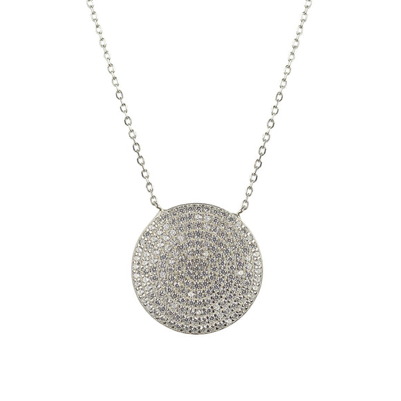 Disc necklace encrusted in crystals