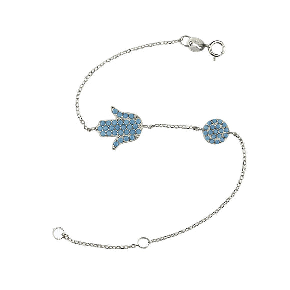 Turquoise Hamsa and evil eye bracelet