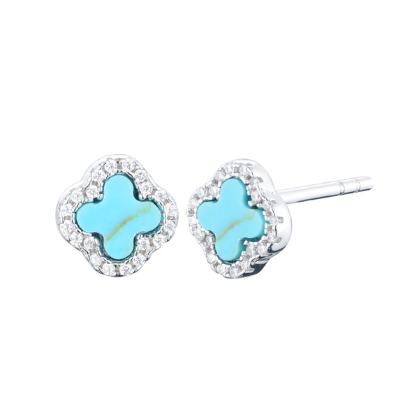 Mini turquoise clover studs