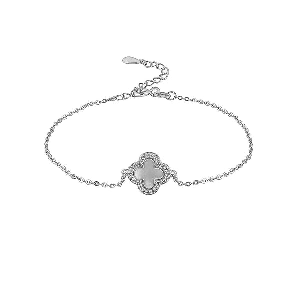 mother of pearl crystal clover bracelet