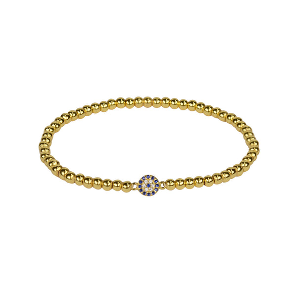 BE BOLD MINI EVIL EYE BEADED GOLD BRACELET