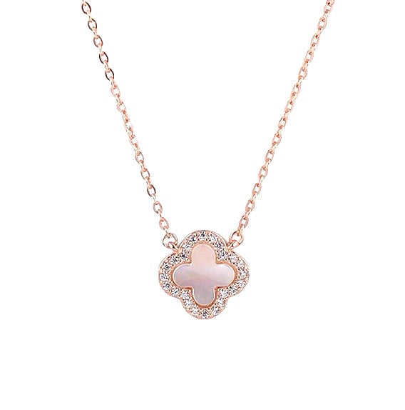 rose gold clover mother of pearl necklace