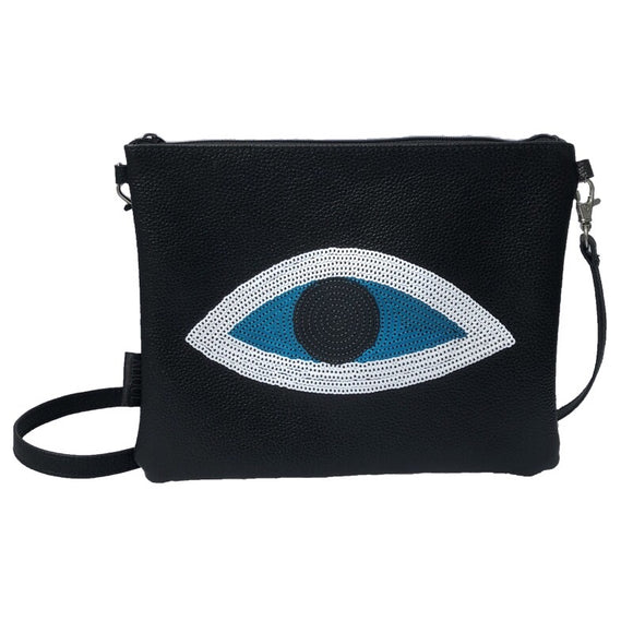 evil eye leather black bag