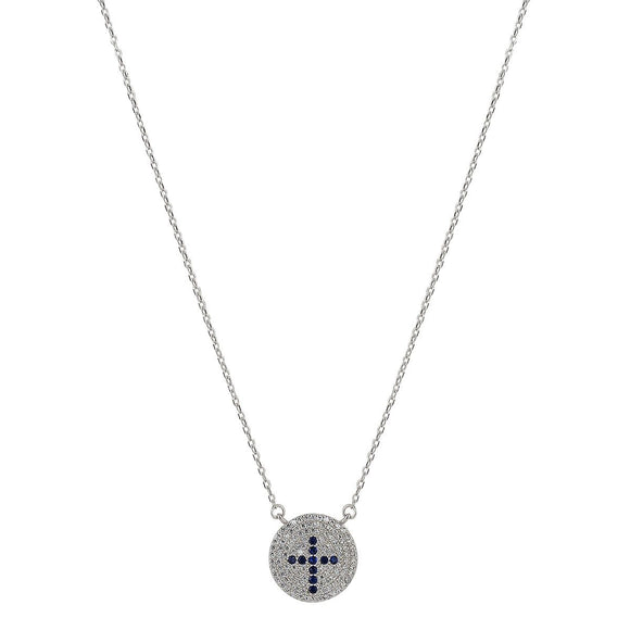 blue cross silver necklace