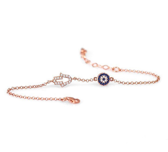 hamsa hand and evil eye rose gold bracelet