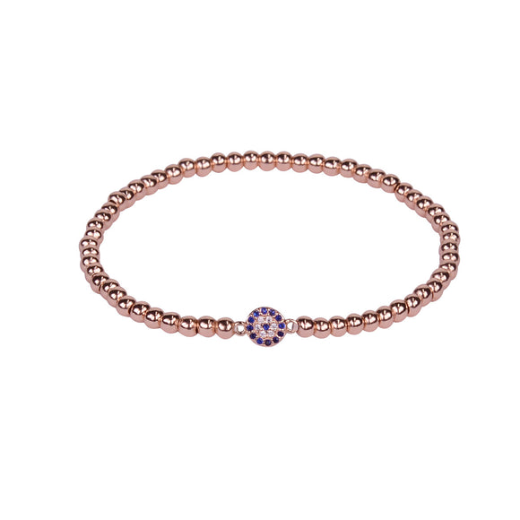 evil eye rose gold beaded bracelet