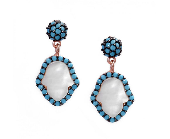 mother of pearl hamsa earrings