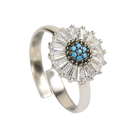 baguette turquoise silver ring