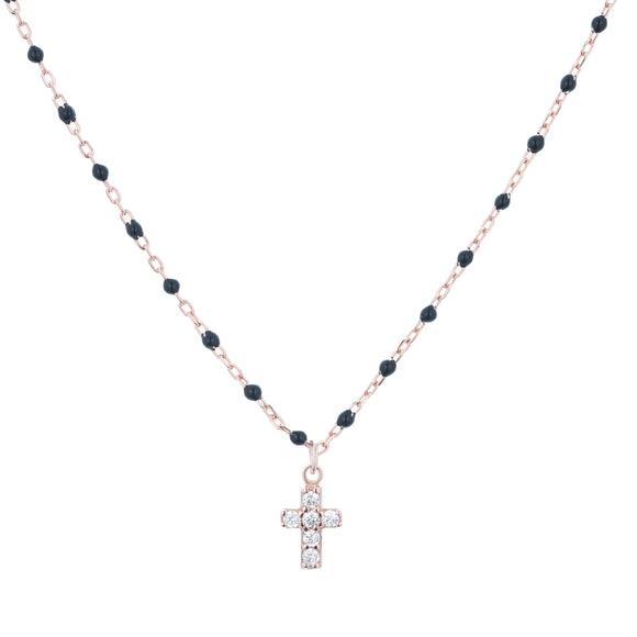 black beaded mini cross necklace