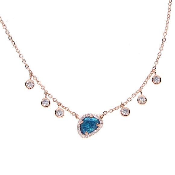 blue stone necklace with crystal droplets