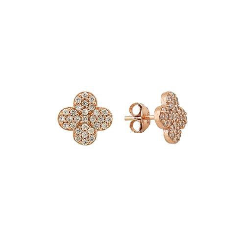 ADELE FOUR LEAF CLOVER EARRINGS ROSE GOLD