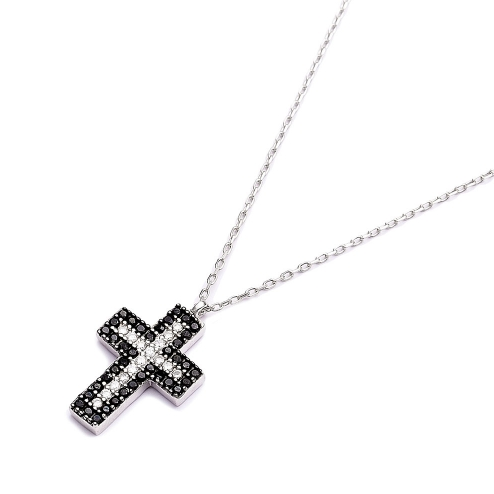 Onyx and crystal cross necklace