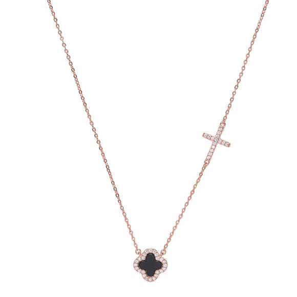 noir black clover and crystal cross rose gold necklace