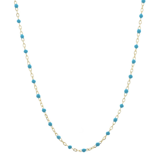 blue beaded gold necklace