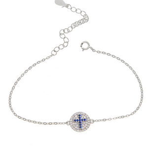 blue crystal cross silver bracelet