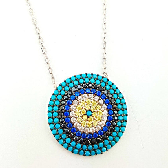 Round turquoise evil eye necklace
