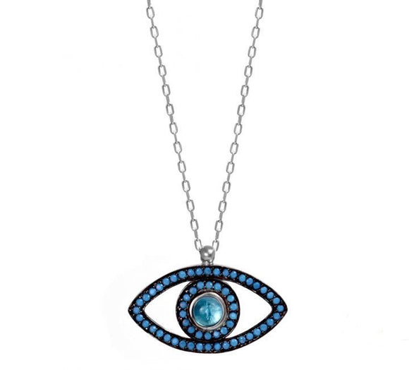 aquamarine evil eye silver necklace