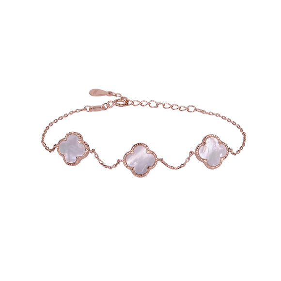 AMARA MOTHER OF PEARL CLOVER ROSE GOLD BRACELET