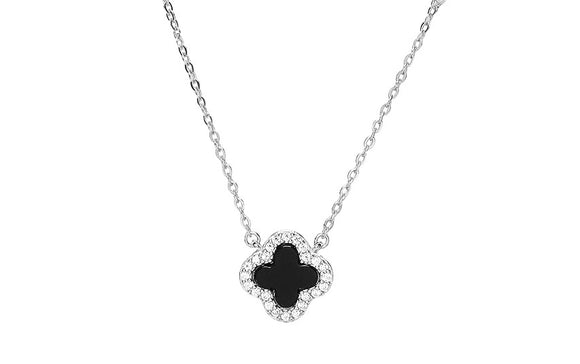 noir black clover silver necklace