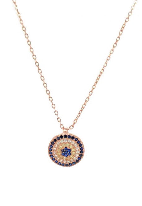 PROTECTIVE EVIL EYE ROSE GOLD NECKLACE
