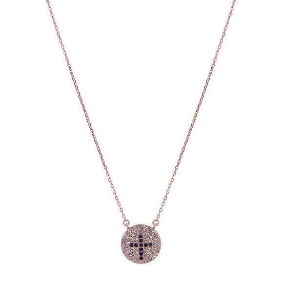 blue cross rose gold necklace