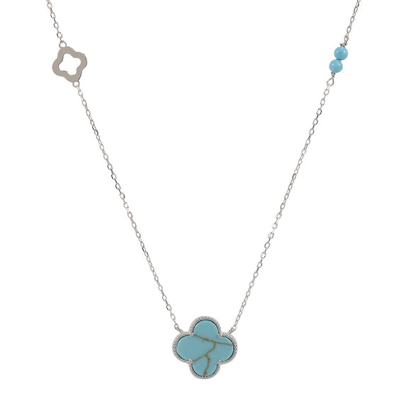 kara turquoise clover silver necklace