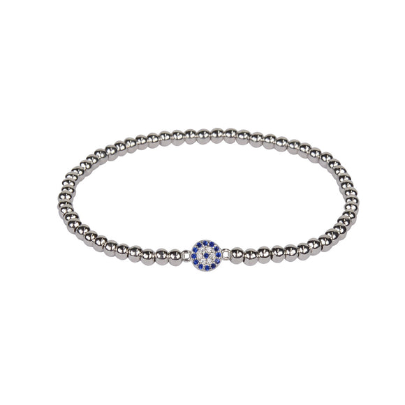 BE BOLD MINI EVIL EYE BEADED STERLING SILVER BRACELET