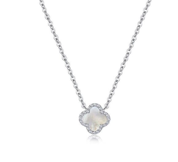 mother of pearl clover crystal necklace