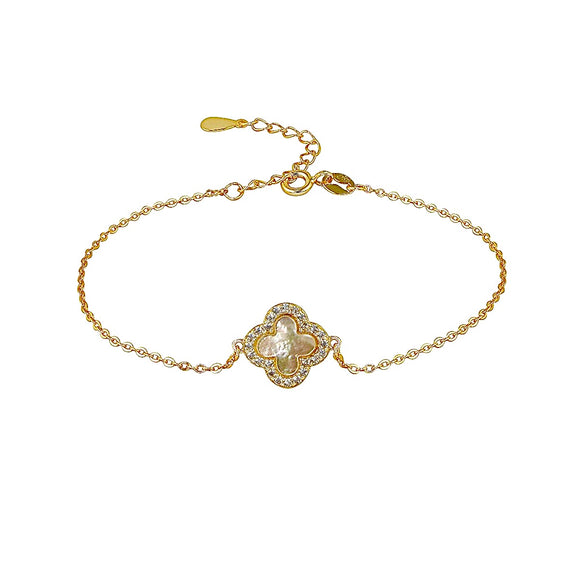 MOTHER OF PEARL CLOVER GOLD BRACELET