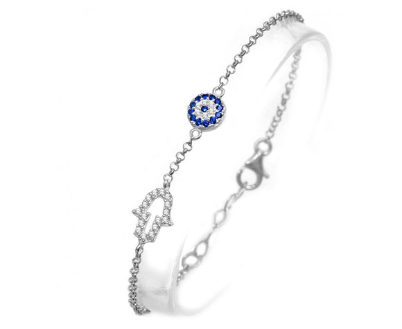 HAMSA HAND AND EVIL EYE SILVER BRACELET