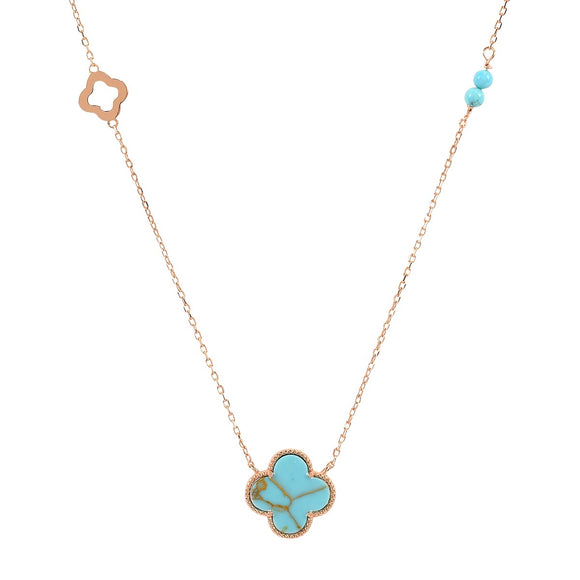 kara turquoise clover rose gold necklace
