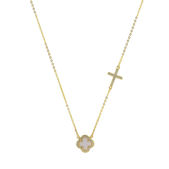 mother of pearl clover and cross gold necklace