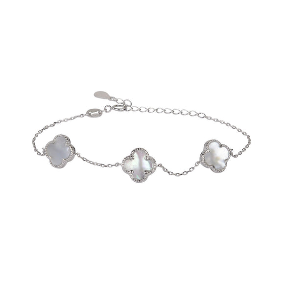 amara mother of pearl clover silver bracelet