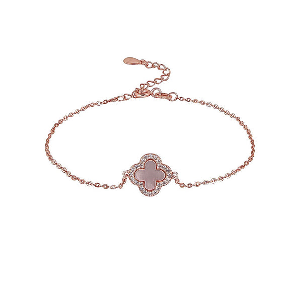 mother of pearl clover rose gold bracelet