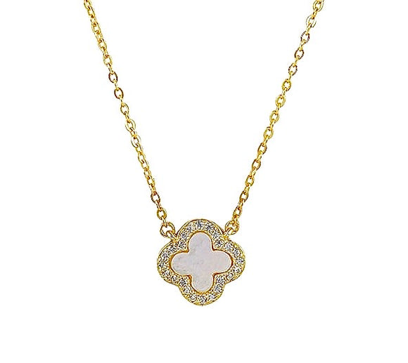 mother of pearl clover gold necklace