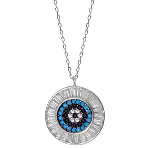 evil eye baguette necklace