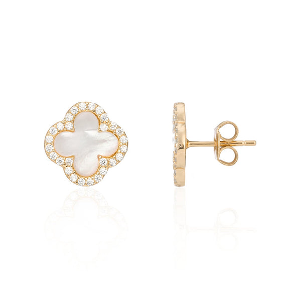 gold mother of pearl clover earrings