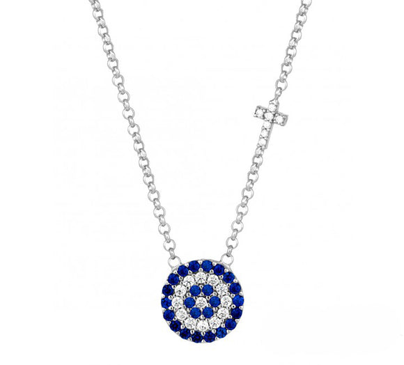 evil eye and cross silver necklace