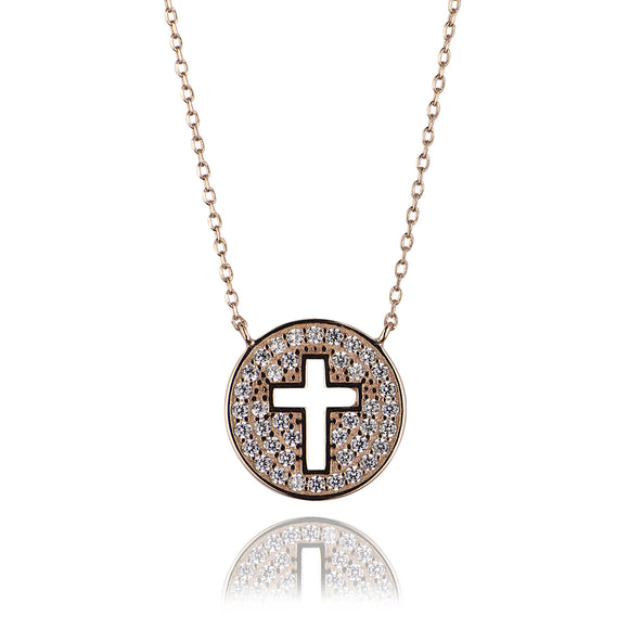 cut out cross rose gold necklace