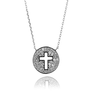 cut out cross silver necklace