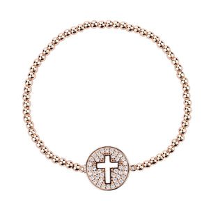 cut out cross rose gold beaded bracelet