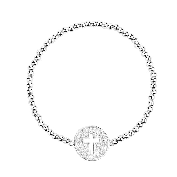 cut out cross silver beaded bracelet
