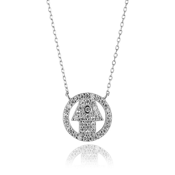 THE HAND HAMSA NECKLACE SILVER