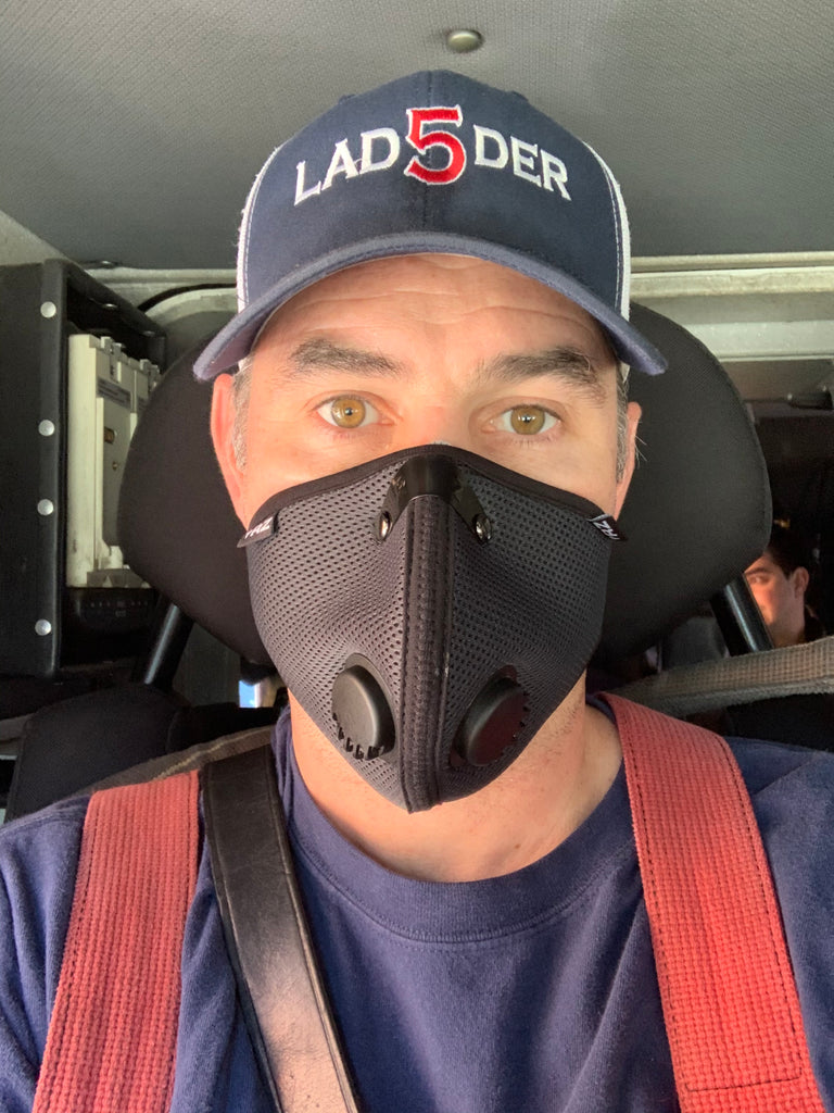 Fire fighter wearing RZ Mask for smoke protection